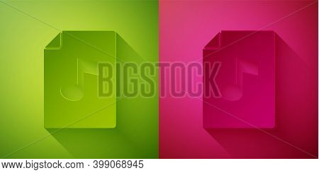Paper Cut Music Book With Note Icon Isolated On Green And Pink Background. Music Sheet With Note Sta