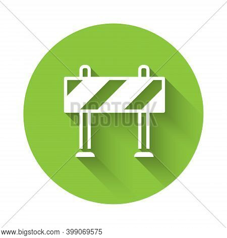 White Road Barrier Icon Isolated With Long Shadow. Symbol Of Restricted Area Which Are In Under Cons