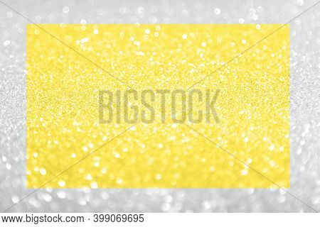 Beautiful Festive Shine Glitter Bright Glowing Solar Yellow And Grey Background Blur, Radiance. Perf