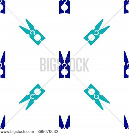 Blue Old Wood Clothes Pin Icon Isolated Seamless Pattern On White Background. Clothes Peg. Vector