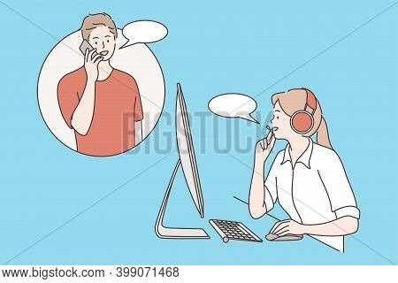 Customer Care, Clients Assistance, Hotline Operator Concept. Young Smiling Woman With Headset Sittin