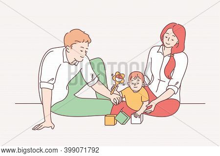 Happy Family With Child, Parenthood, Childhood Concept. Young Smiling Parents Father And Mother Sitt