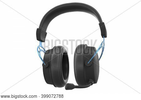 3d Rendering Of Gaming Headphones With Microphone On White Background With Clipping Path. Concept Of