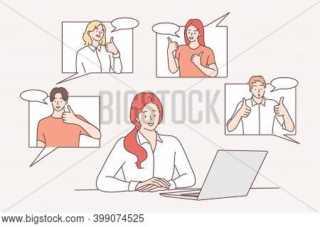 Efficiency In Work, Colleagues Support, Success In Career Concept. Successful Young Woman Office Wor