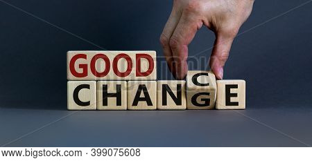 Good Change - Good Chance. Hand Flips A Cube And Changes The Words 'good Change' To 'good Chance'. B