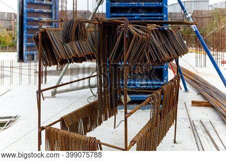 Metal Structures From Reinforcement For Pouring Concrete In Monolithic Construction. Construction Si