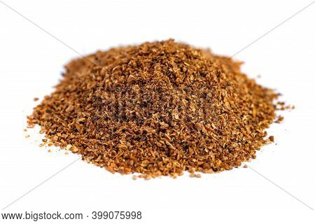 Pile Of Ground Coriander On White Background, Georgian Spice, Indian Spice