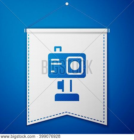 Blue Action Extreme Camera Icon Isolated On Blue Background. Video Camera Equipment For Filming Extr