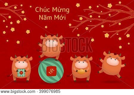 2021 Vietnamese New Year Tet Illustration, Cute Buffalo, Rice Cakes, Watermelon, Gold, Apricot Flowe