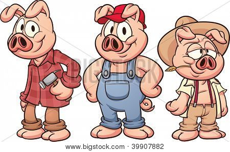 Three little pigs. Vector illustration with simple gradients. Each in a separate layer for easy editing.