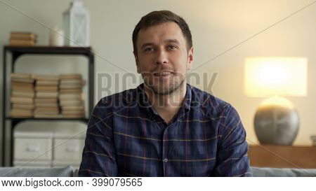 Businessman Speak Look At Camera In Office, Male Entrepreneur Talk During Conference Online Call Job