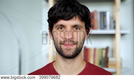 Portrait Of Happy Man Looking At Camera At Office. Man Feeling Confident. Close Up Face Business Man