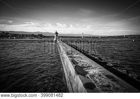 Lake Geneva Beach In The City Of Geneva - City Of Geneva, Switzerland - July 8, 2020