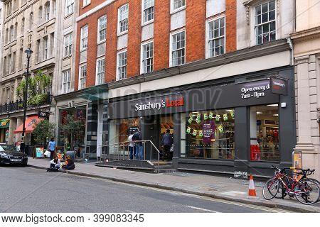 London, Uk - July 6, 2016: Sainsbury's Local Grocery Store In London, Uk. Retail Sales Generate 5 Pe