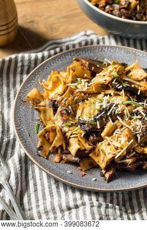 Homemade Mushroom Pappardelle Pasta