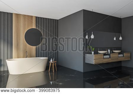 Corner Of Modern Bathroom With Gray And Wooden Walls, Marble Floor, Comfortable Bathtub And Double S