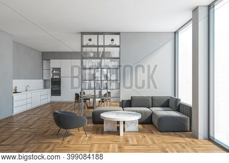 Living Room In Studio Apartment With Grey Sofa And White Kitchen Set On Background, Bookshelf And Di