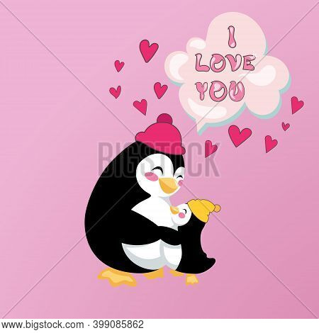 Card Of Parental Love. Little Baby Penguin Is Hugging His Big Penguin. Vector Illustration With All