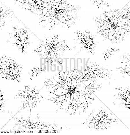 Seamless Vector Pattern With A Pattern Of Holly, Rowan, Poinsettia Branches. The Hand-drawn Sketch I
