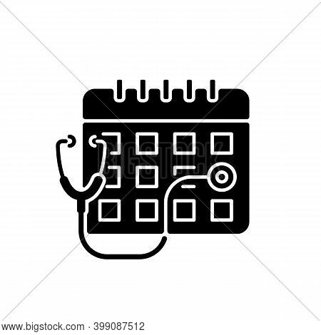 Consultation Time Black Glyph Icon. Primary Care Doctor Visit. Physician Workload. Clinical Examinat