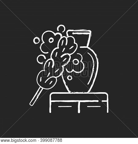 Dusting Chalk White Icon On Black Background. Household Chore, Housekeeping. House Cleaning Service,