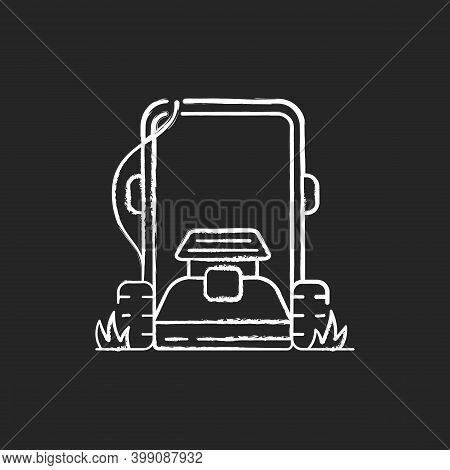 Lawn Mowing Chalk White Icon On Black Background. Suburban Housekeeping Chore. Professional Grass Tr