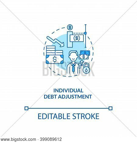 Individual Debt Adjustment Blue Concept Icon. Terms Of Repaying Credit. Borrower Payment. Bankruptcy