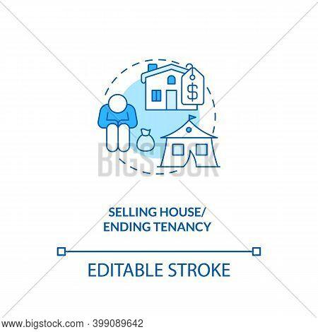 Selling House, Ending Tenancy Blue Concept Icon. Financial Crisis. Debtor. Eviction Notice. Bankrupt