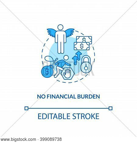 No Financial Burden Blue Concept Icon. Debt Free. No Mortgage, Credit. Avoid Difficulty With Economy