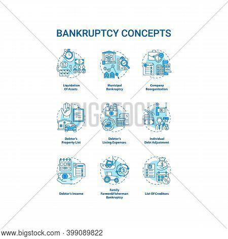 Bankruptcy Blue Concept Icons Set. Economic Difficulty. Debtor And Creditor Contract. Financial Cris