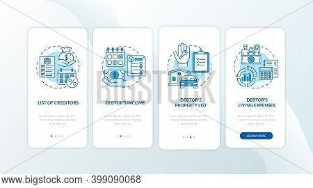 Creditor And Debtor Blue Onboarding Mobile App Page Screen With Concept. Banking, Accounting. Financ
