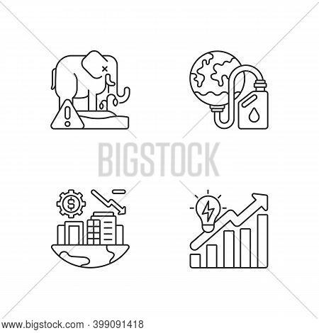 Global Warming Linear Icons Set. Biological Resources. Biosphere Extinction Of Plants And Animals. C