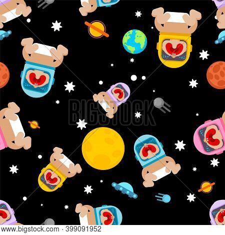Baby Astronaut In Space Pattern Seamless. Newborn Spaceman Background. Child In Space Helmet Texture