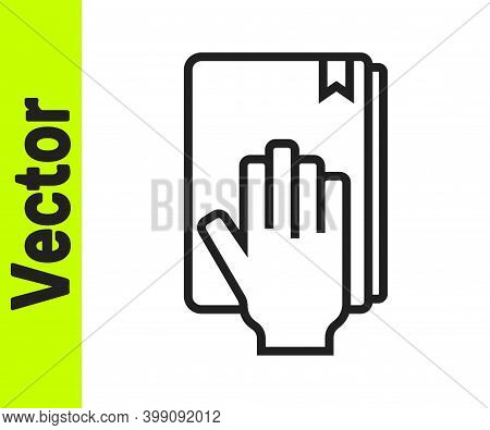 Black Line Oath On The Holy Bible Icon Isolated On White Background. The Procedure In Court. Truth A