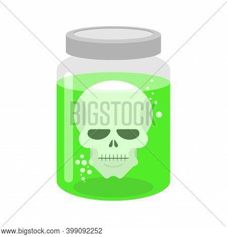 Skull In Glass Jar. Skeleton Head In Glassy Liter Jar. Vector Illustration