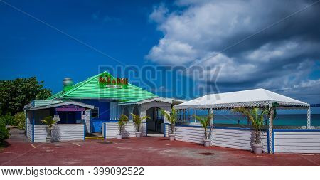 Grand Cayman, Cayman Islands, July 2020, View Of The Paradise Restaurant In George Town By The Carib