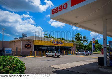 Grand Cayman, Cayman Islands, July 2020, View Of A Gas Station In George Town