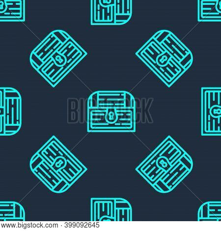 Green Line Antique Treasure Chest Icon Isolated Seamless Pattern On Blue Background. Vintage Wooden