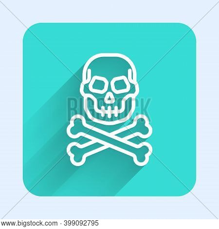 White Line Skull On Crossbones Icon Isolated With Long Shadow. Happy Halloween Party. Green Square B