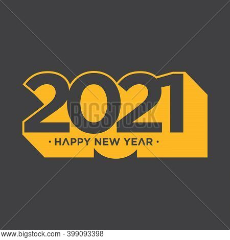 Happy New Year 2021 Shadow Style On Grey Background. Happy New Year 2021 Vector Background Illustrat