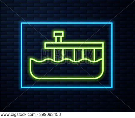 Glowing Neon Line Beach Pier Dock Icon Isolated On Brick Wall Background. Vector