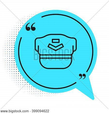Black Line Pilot Hat Icon Isolated On White Background. Blue Speech Bubble Symbol. Vector