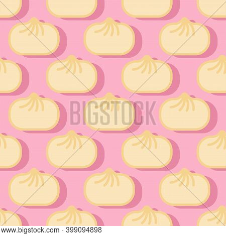 Baozi Pattern Seamless. Chinese Dumplings Background. Traditional Food In China Texture. Vector Orna