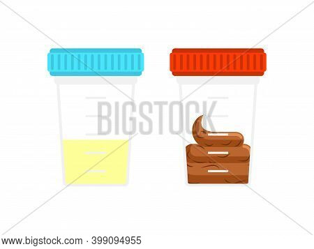 Analysis Of Feces And Urine. Plastic Jar For Analysis