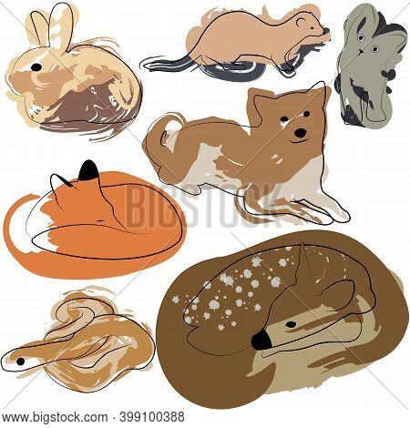 Set Of Line Animals With Paint Spots. Dog, Cat, Deer, Bunny, Fox, Snake, Ferret.