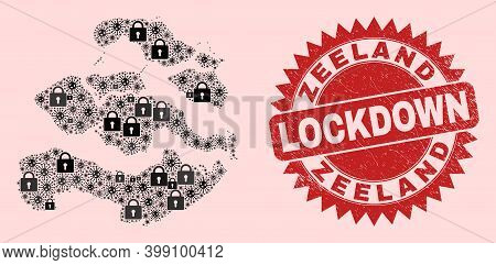 Vector Covid-2019 Lockdown Combination Zeeland Province Map And Scratched Stamp Seal. Lockdown Red S
