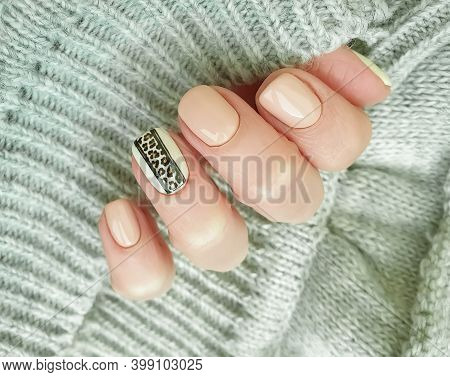 Female Hand Beautiful Elegant Manicure Autumn Elegant