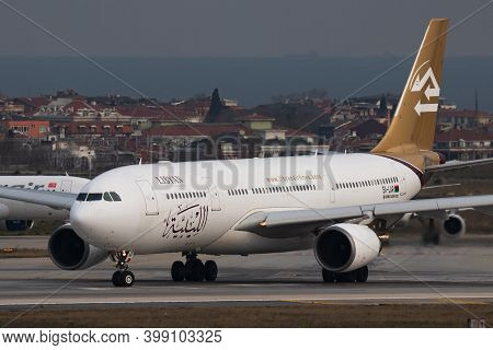 Istanbul / Turkey - March 27, 2019: Libyan Airlines Airbus A330-200 5a-lar Passenger Plane Departure