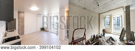 Empty Rooms With Large Window, Heating Radiators Before And After Restoration. Comparison Of Old Apa