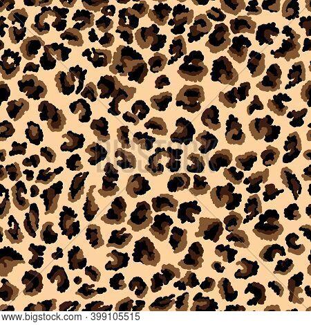 Abstract Leopard Skin Print. Seamless Pattern Of Animal Fur Cheetah, Jaguar. Spots Of Black And Brow